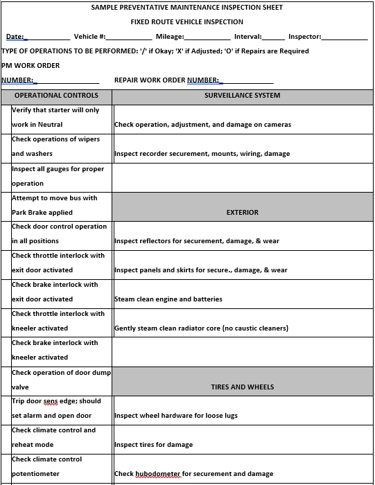 Preventative Maintanance Inspection Word Doc