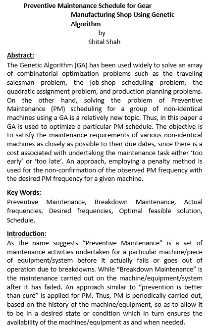 Preventive Maintenance Schedule for Gear Manufacturing Shop