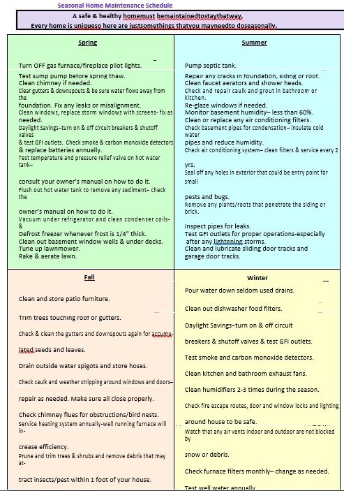Printable Home Maintenance Schedule