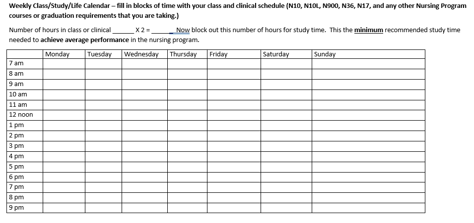 Printable Hospital Nurse Schedule Word Download