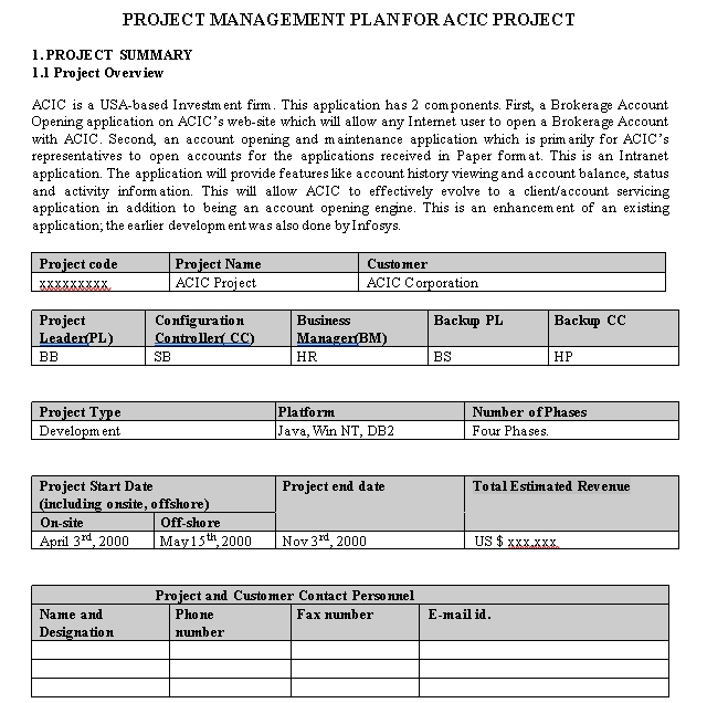 Printable Project Schedule Download