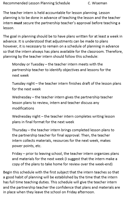 Recommended Lesson Planning Schedule