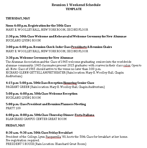 Reunion Weekend Schedule