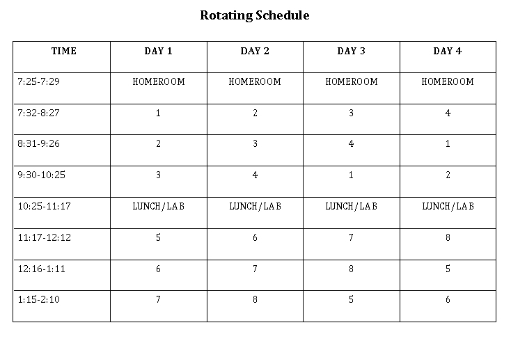 Rotating Day Schedule