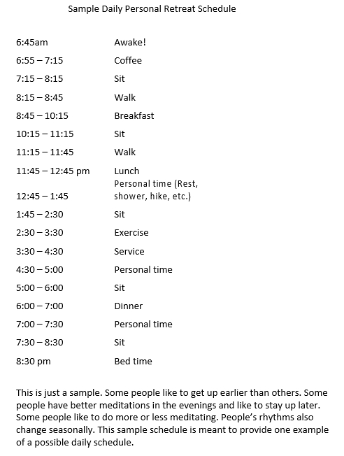 Sample Daily Personal Retreat Schedule