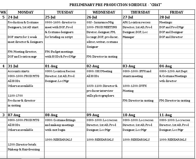 Schedule for Pre Production Excel Format