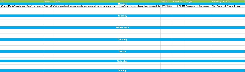 Scocial Media Shcedule Editorial Calendar