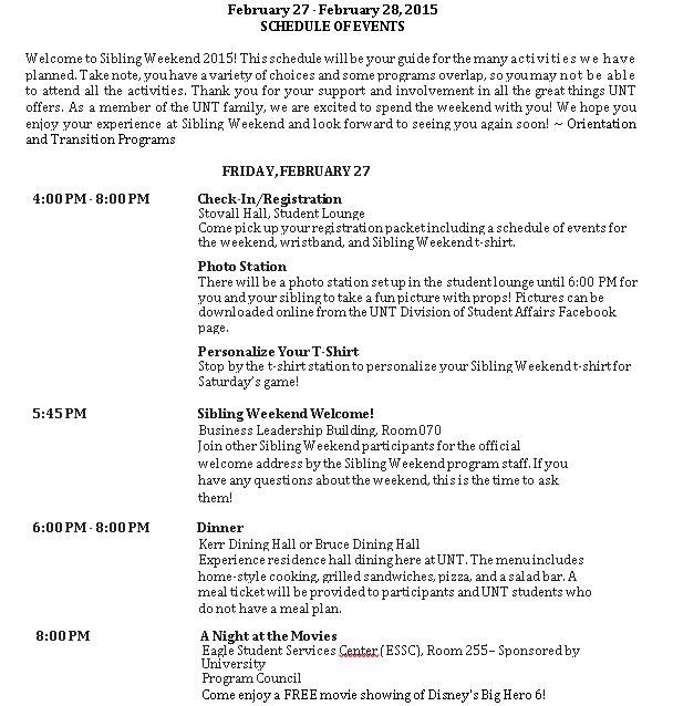 Sibling Weekend 2015 Schedule