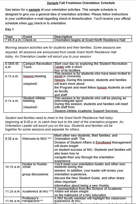 Student Orientation Schedule