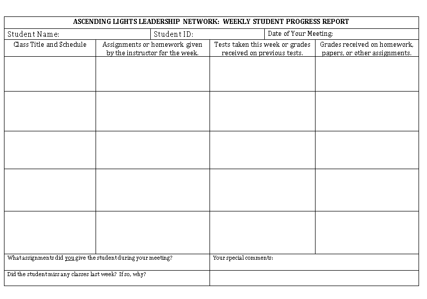 Student Weekly Report Format