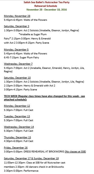 Tea Party Schedule