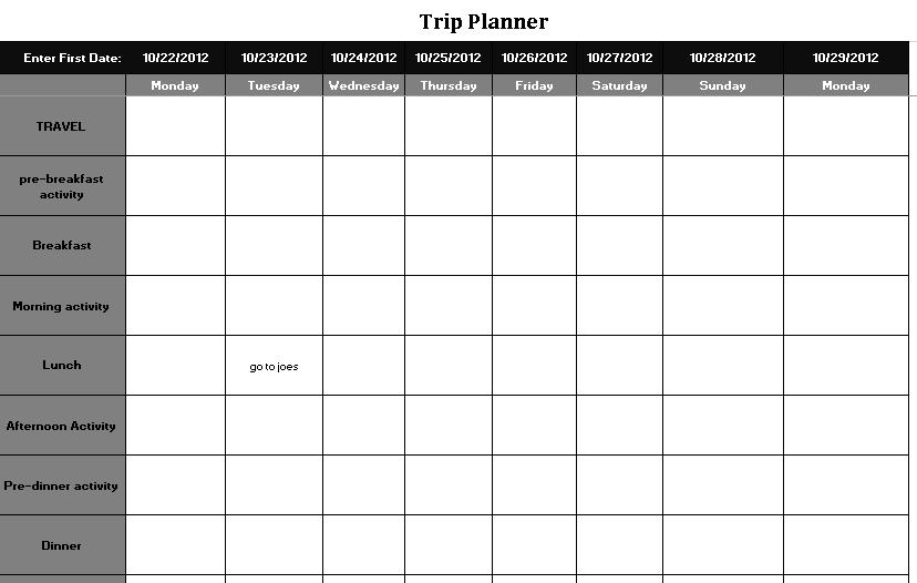 Vacation Trip Planning Schedule