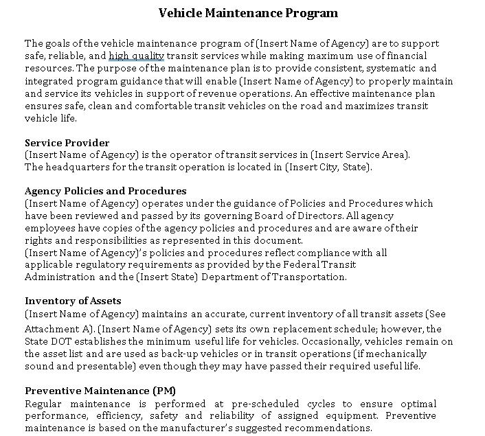 Vehicle Maintenance Program Schedule Download