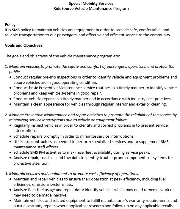 Vehicle Preventive Maintenance Schedule Word Doc