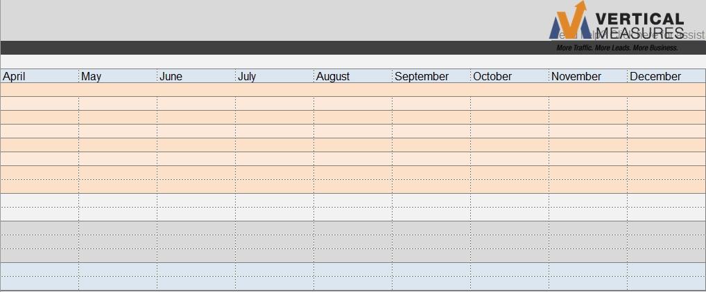 Vertical Measures Content Calendar