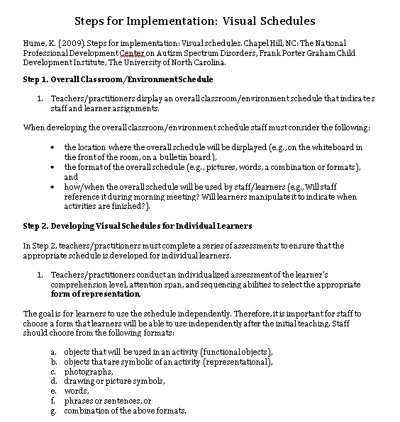 Visual Schedule Implementation Guide