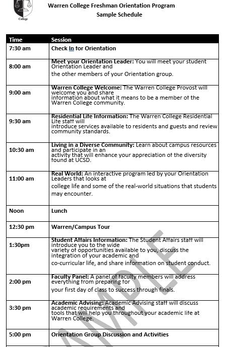 Warren College Freshman Orientation Schedule