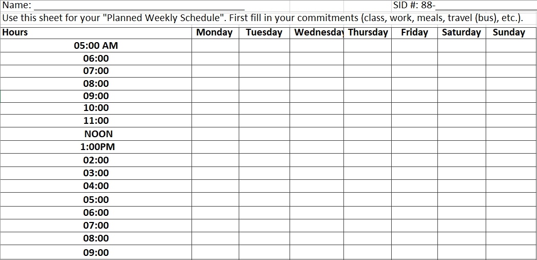 Weekly Planned Schedule Excel