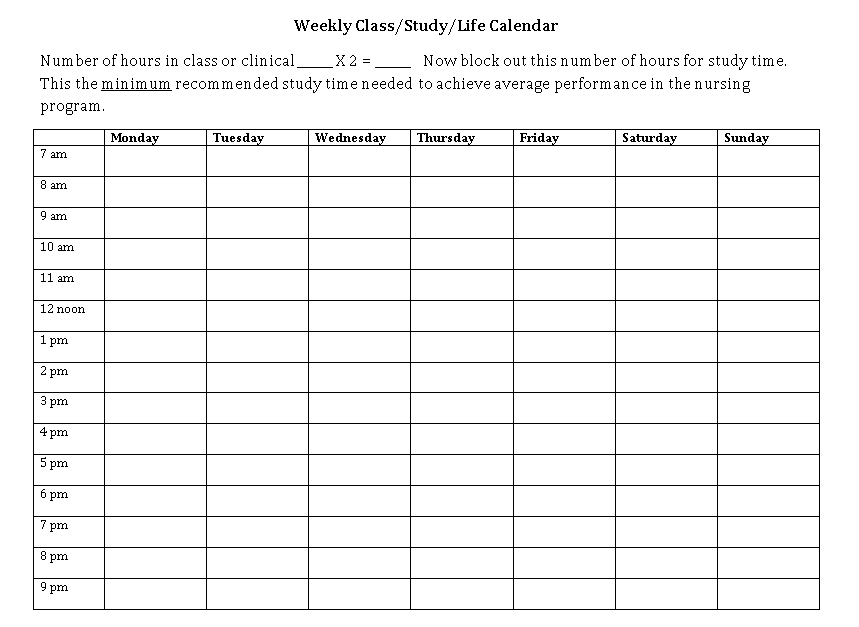 Weekly School Schedule Blank in Word Format