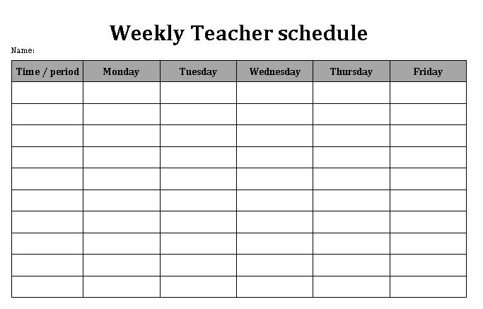 Weekly Teacher Schedule Word Format