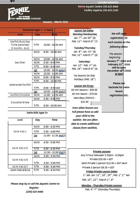 Winter Swim Lesson Schedule