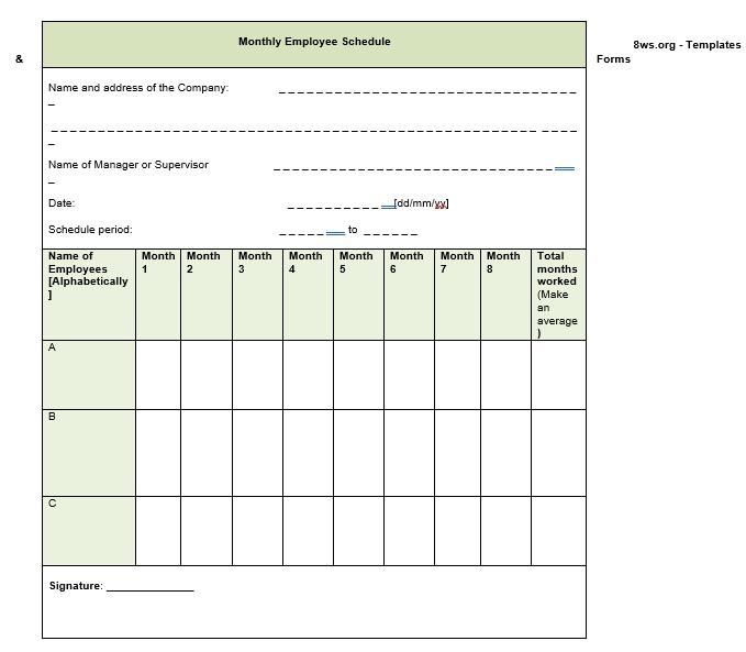 monthly employee schedule 1 1