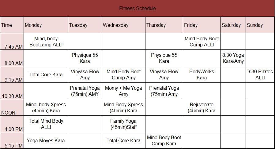 sample fitness schedule